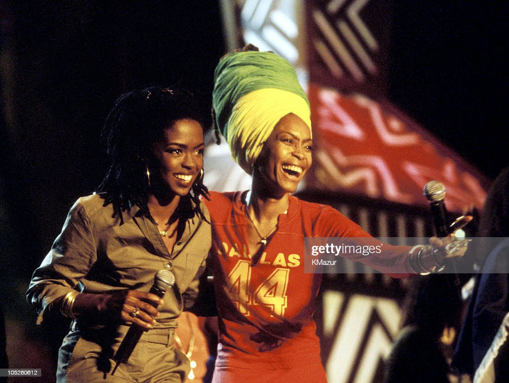 Lauryn Hill and Eryka Badu during TNT Bob Marley All Star Tribute at James Bond Beach in Oracabeca Beach, Jamaica, Jamaica.