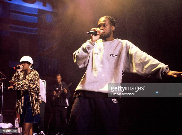 Lauryn Hill and Wyclef Jean of The Fugees performing at the Smokin' Grooves Festival 1996 at Shoreline Amphitheater Event held on October 16 1996 in...