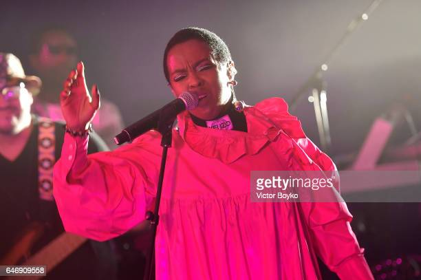 Lauryn Hill performs at Kenzo La Collection Memento No 1 event at Kenzo Headquarters on March 1 2017 in Paris France