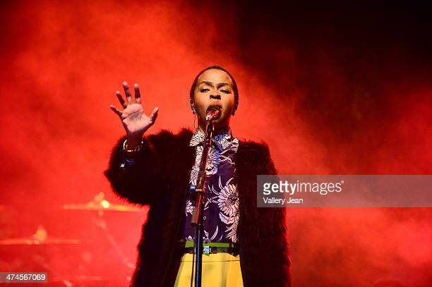 Lauryn Hill performs at the 9 Mile music Festival at Miami Dade County Fairground on February 15 2014 in Miami Florida