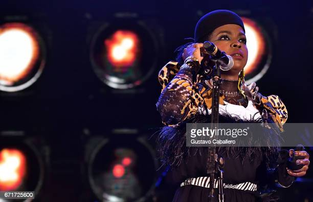 Lauryn Hill performs at the Kaya Fest at Bayfront Park Amphitheater on April 22 2017 in Miami Florida