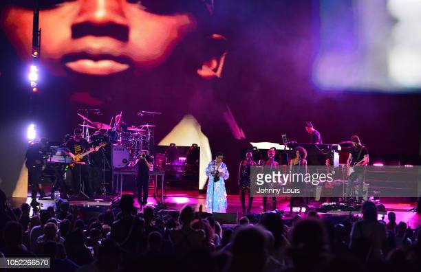 Lauryn Hill performs during The Miseducation of Lauryn Hill 20th Anniversary Tour at Bayfront Park Amphitheater on October 15 2018 in Miami Florida