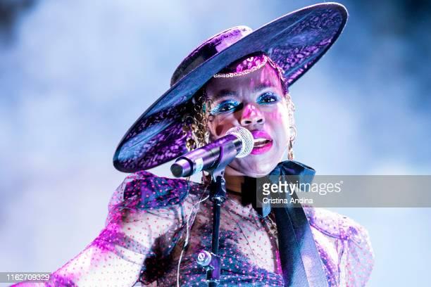 Lauryn Hill performs on stage in Castrelos Park Vigo on July 17 2019 in Vigo Spain