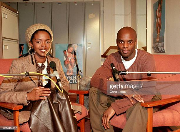 Lauryn Hill posing for the camera after an interview with Radio 1 dj Trevor Nelson Stockwell School London