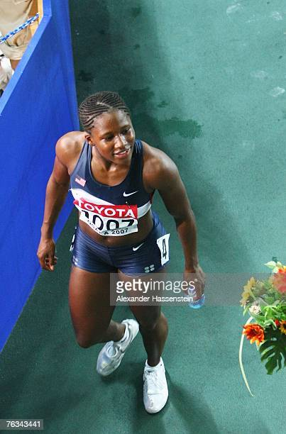 Lauryn Williams of the United States of America after the Women's 100m Final on day three of the 11th IAAF World Athletics Championships on August 27...