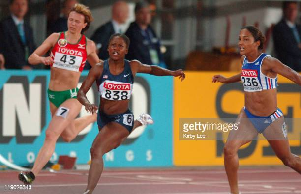 Lauryn Williams of the United States wins the women's 100 meters in 1093 in the IAAF World Championships in Athletics at Olympic Stadium in Helsinki...