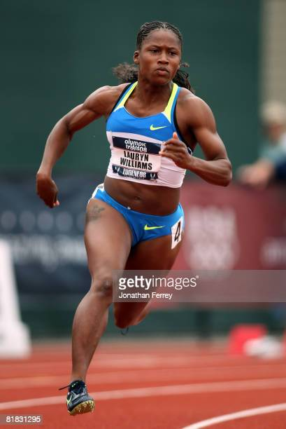 Lauryn Williams ompetes in the women's 200 meter quarterfinal during day seven of the US Track and Field Olympic Trials at Hayward Field on July 5...