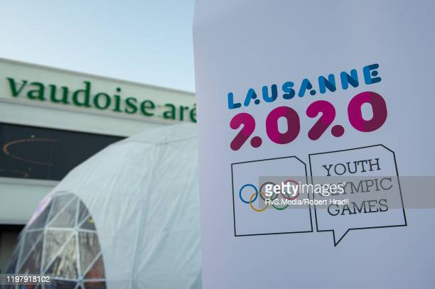 Lausanne 2020 logo is being displayed in front of Vaudoise Arena prior the 2020 Winter Youth Olympic Games officially known as the III Winter Youth...