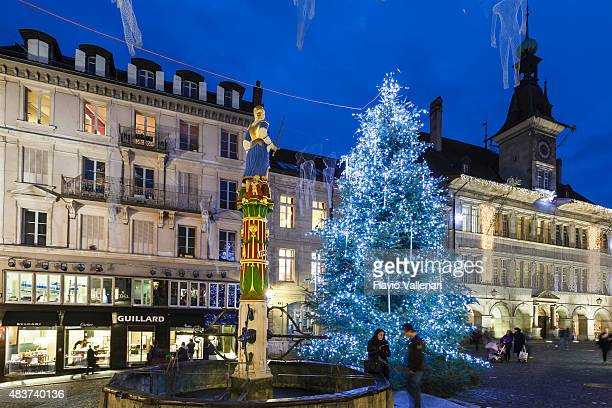 lausanne at christmas, switzerland - lausanne stock photos and pictures