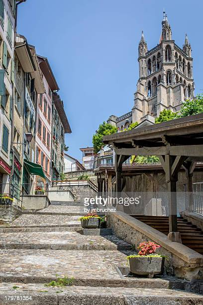 lausanne cathedral - lausanne stock pictures, royalty-free photos & images