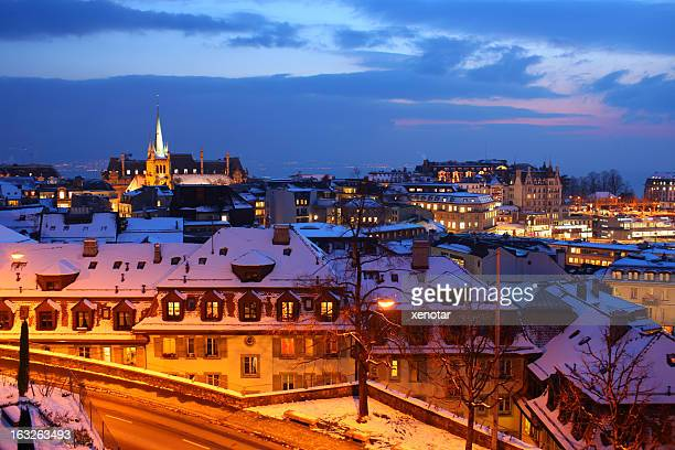 lausanne city at night - vaud canton stock photos and pictures