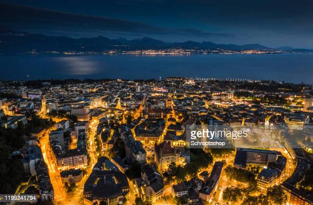 lausanne cityscape in switzerland - lausanne stock pictures, royalty-free photos & images