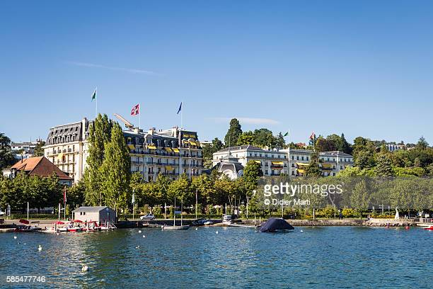 lausanne lakefront in switzeralnd - lausanne stock pictures, royalty-free photos & images