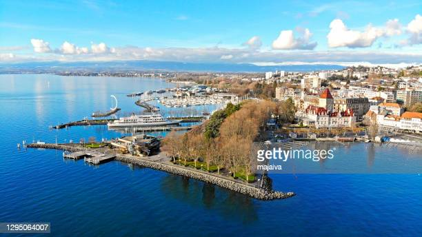 lausanne ouchy waterfront - vaud canton stock pictures, royalty-free photos & images