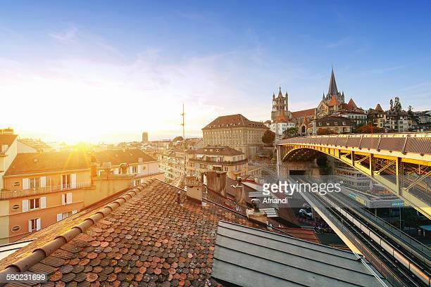 lausanne skyline, switzerland - lausanne stock pictures, royalty-free photos & images