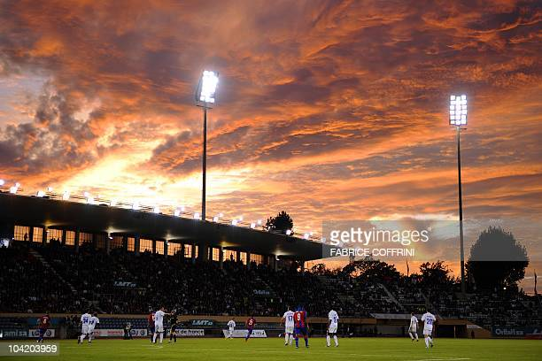FC Lausanne Sport and CSKA Moscow players are seen under the sunset during their UEFA Europa League group F playoffs football match between FC...