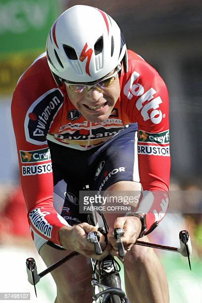 Cadel Evans of Australia vies to win the 2006 edition of the Tour de Romandie during the final stage Lausanne to Lausanne a 204kilometer race against...