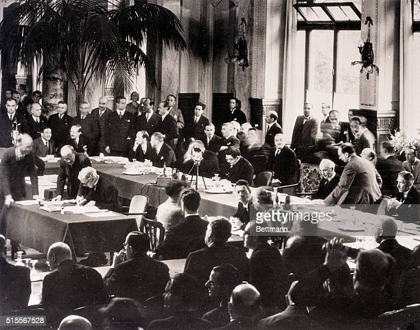 7/16/1932 Lausanne Switzerland The Lausanne pact slowed post war history of Europe Prime Minister Ramsay MacDonald of Great Britain signs