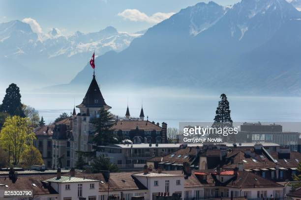 lausanne view towards lake geneva - lausanne stock pictures, royalty-free photos & images