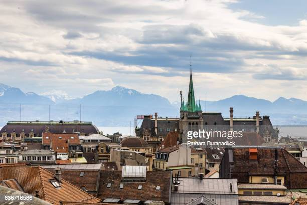 lausanne's church and roof - lausanne stock pictures, royalty-free photos & images