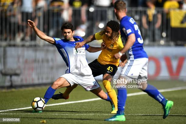 Lausanne's French midfielder Enzo Zidane and Young Boy's Swiss defender Kevin Mbabu vie for the ball during the Swiss Super League football match...