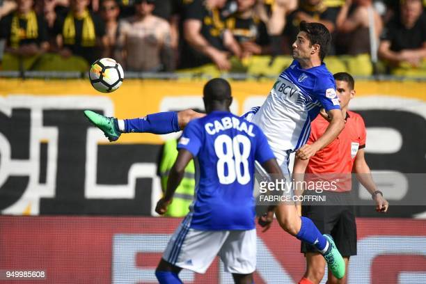 Lausanne's French midfielder Enzo Zidane controls the ball during the Swiss Super League football match Young Boys against LausanneSport at the stade...