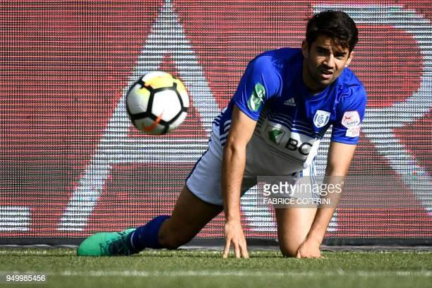 Lausanne's French midfielder Enzo Zidane eyes a ball during the Swiss Super League football match Young Boys against LausanneSport at the stade de...