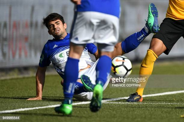 Lausanne's French midfielder Enzo Zidane falls during the Swiss Super League football match Young Boys against LausanneSport at the stade de Suisse...