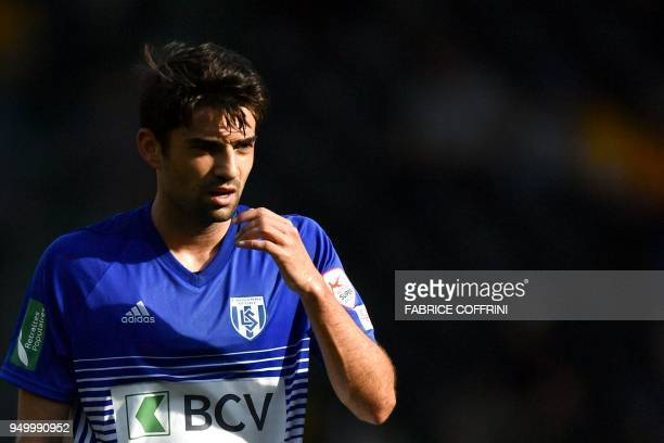 Lausanne's French midfielder Enzo Zidane looks on during the Swiss Super League football match Young Boys against LausanneSport at the stade de...