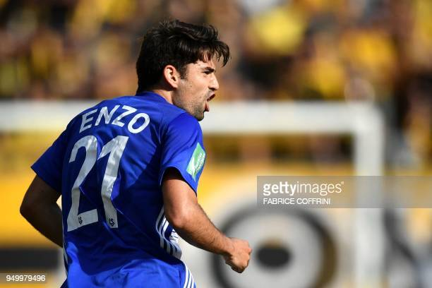 Lausanne's French midfielder Enzo Zidane reacts during the Swiss Super League football match Young Boys against LausanneSport at the stade de Suisse...