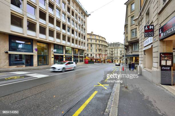 lausanne's old town and city traffic, switzerland - vaud canton stock photos and pictures