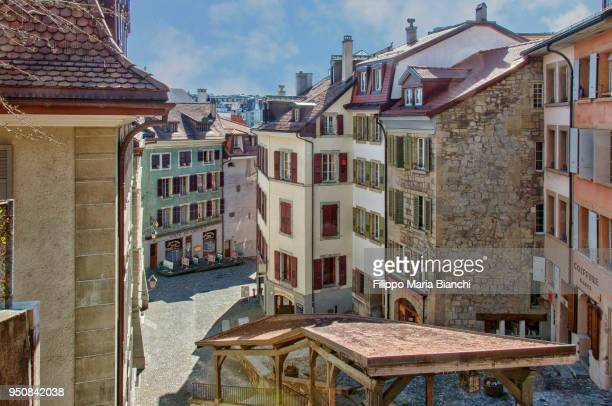 lausanne's old town - lausanne stock pictures, royalty-free photos & images