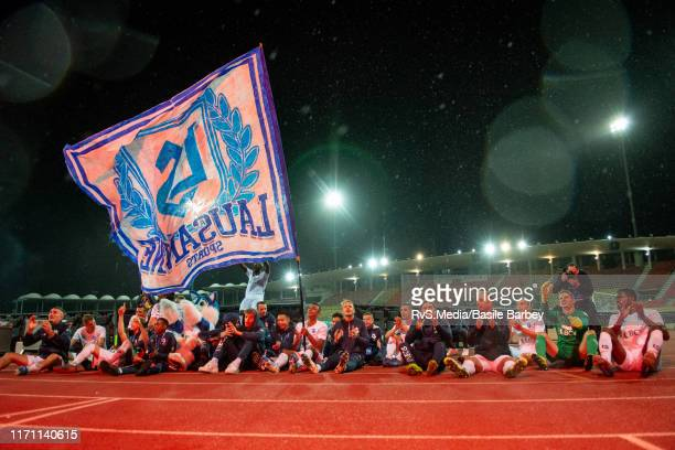 Lausanne-Sport players celebrate the win after the Challenge League game between FC Lausanne-Sport and Grasshopper Club Zurich at Stade Olympique de...