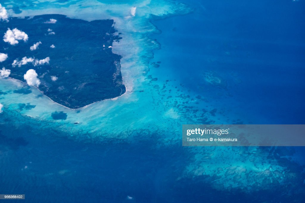 Laut Island in South China Sea in Indonesia daytime aerial view from airplane : ストックフォト