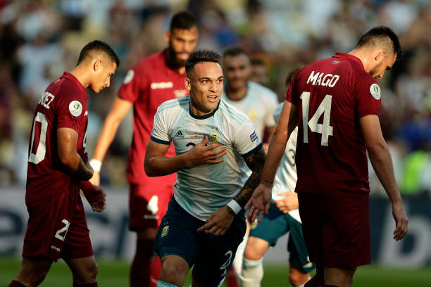 Lautaro Acosta celebrates after scoring his side's first goal during the Copa America Brazil 2019 quarterfinal match between Argentina and Venezuela...
