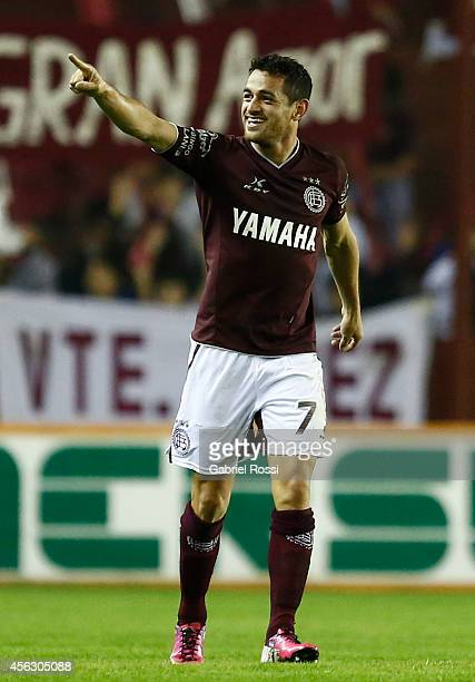 Lautaro Acosta of Lanus celebrates after scoring the first goal of his team during a match between Lanus and River Plate as part of ninth round of...