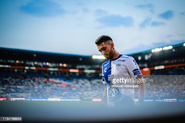 Lautaro Bustos of Pachuca looks on during a 10th round match between Pachuca and Tijuana as part of Torneo Clausura 2019 Liga MX at Hidalgo Stadium...