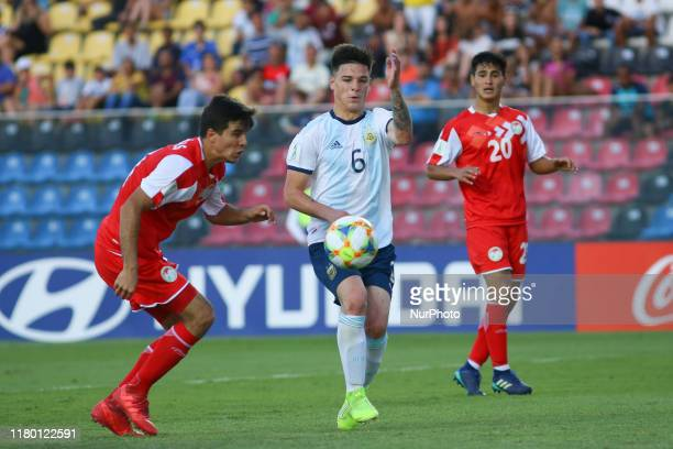 Lautaro Cano of Argentina during the FIFA U17 World Cup Brazil 2019 Group E match between Argentina and Tajikistan at Estadio Kleber Andrade on...