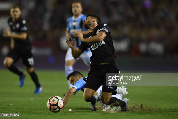 Lautaro Costa of Lanus receives a foul during the second leg match between Lanus and Gremio as part of Copa Bridgestone Libertadores 2017 Final at...