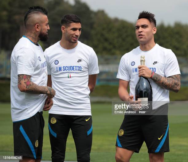 Lautaro Martinez, Achraf Hakimi and Arturo Vidal of FC Internazionale during the FC Internazionale training session at the club's training ground...