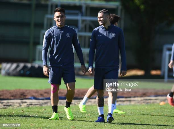 Lautaro Martinez and Mauro Icardi attend an FC Internazionale trainig session at Appiano Gentile on October 23 2018 in Como Italy