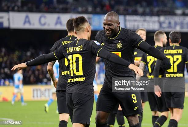 Lautaro Martinez and Romelu Lukaku of FC Internazionale celebrate the 13 goal scored by Lautaro Martinez during the Serie A match between SSC Napoli...