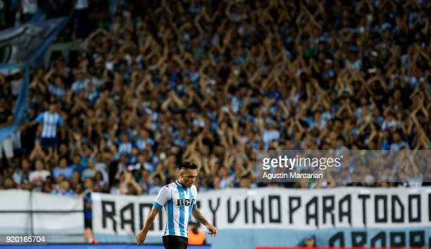 Lautaro Martinez leaves the pitch during a match between Racing Club and Lanus as part of Argentine Superliga 2017/18 at Estadio Juan Domingo Peron...