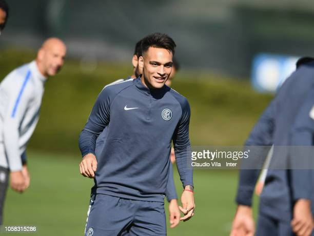 Lautaro Martinez looks on during an FC Internazionale training session at Appiano Gentile on October 23 2018 in Como Italy