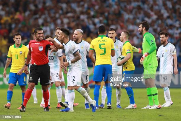 Lautaro Martinez of Argentina argues with referee Roddy Zambrano during the Copa America Brazil 2019 Semi Final match between Brazil and Argentina at...