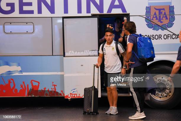 Lautaro Martinez of Argentina arrives to Diplomatic Hotel on November 19 2018 in Mendoza Argentina Argentina will face Mexico on November 20th as...