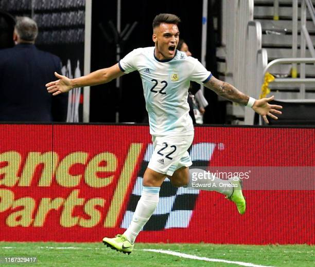 Lautaro Martinez of Argentina celebrates after scoring a goal against Mexico during the International Friendly soccer match at the Alamodome on...