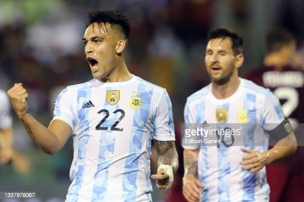 Lautaro Martinez of Argentina celebrates after scoring the first goal of his team during a match between Venezuela and Argentina as part of South...