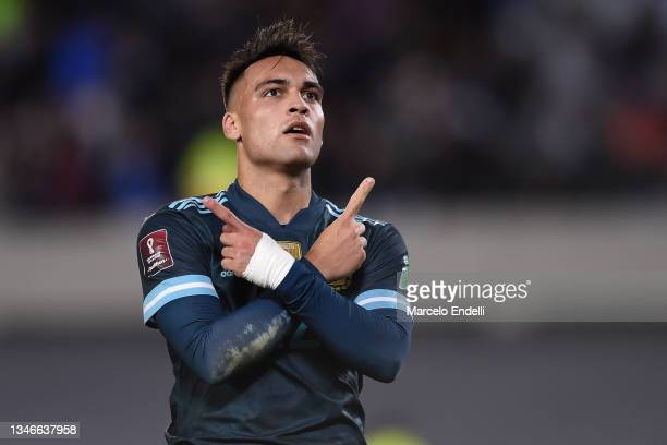 Lautaro Martinez of Argentina celebrates after scoring the first goal of his team during a match between Argentina and Peru as part of South American...