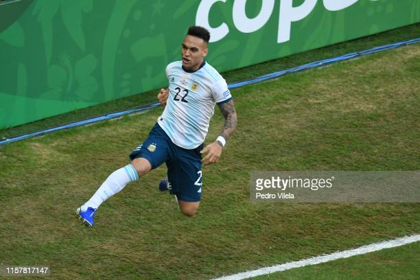 Lautaro Martinez of Argentina celebrates after scoring the opening goal during the Copa America Brazil 2019 group B match between Qatar and Argentina...